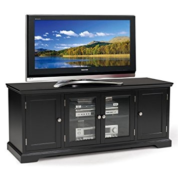 Amazing New Hardwood TV Stands In Amazon Leick Black Hardwood Tv Stand 60 Inch Kitchen Dining (Image 4 of 50)