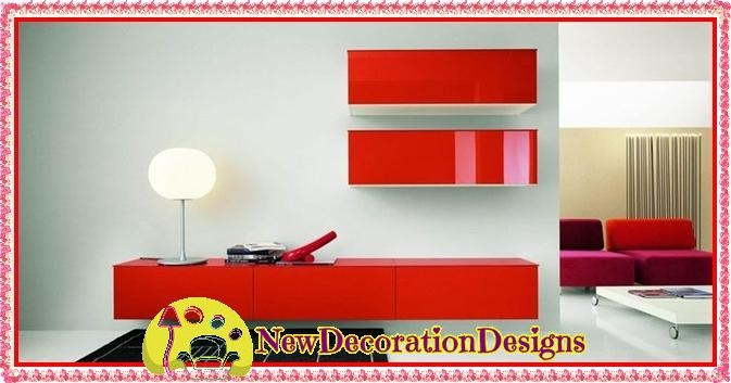 Amazing New Red TV Cabinets In Modern Red Tv Cabinet And Tv Unit Wall Shelve Designs New (Image 4 of 50)