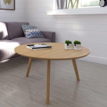 Amazing New Round Oak Coffee Tables Regarding Scandinavian Retro Round Coffee Table With Solid Oak Legs Oak (Image 3 of 40)