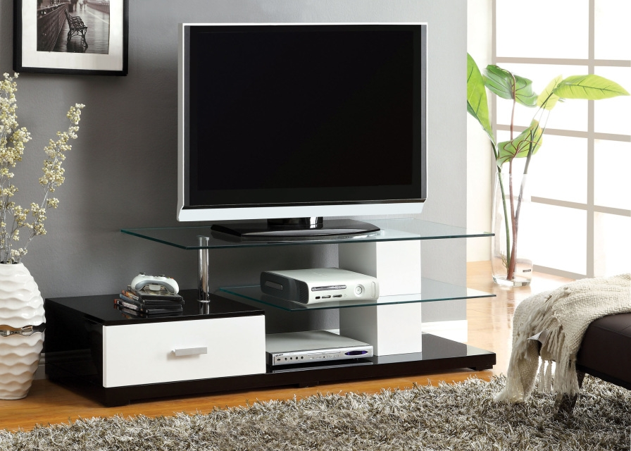 Amazing New Shiny Black TV Stands Throughout Tv Stands Glamorous Tv Stand Tempered Glass 2017 Design Tv Stand (Image 2 of 50)