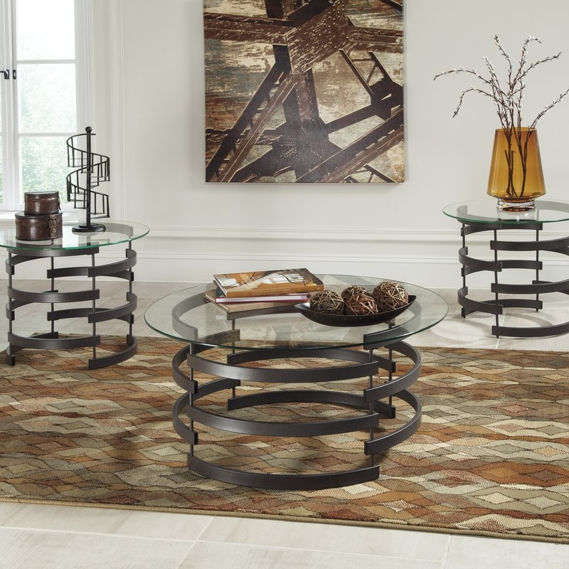 Amazing New Wayfair Glass Coffee Tables Inside Latitude Run Bailey 3 Piece Coffee Table Set Reviews Wayfair (Image 3 of 40)