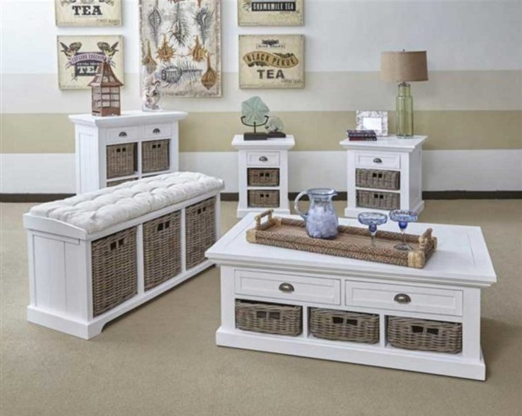 Amazing New White Coffee Tables With Baskets With Furniture White Wooden Table Set With Bench And Storage Basket (Image 5 of 40)