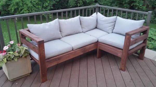 Amazing Outdoor Sectional Diy 2X4 Stained Wood Simple Nice For Ana White Outdoor Sectional Sofas (Image 1 of 20)