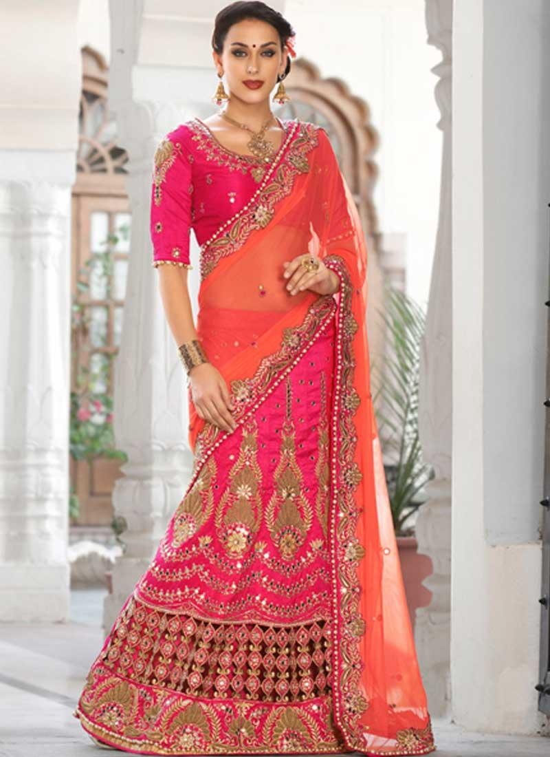 Amazing Pink Art Dupion Silk Mirror Work Online Bridal Lehenga Within Online Shopping Mirror (Image 1 of 20)