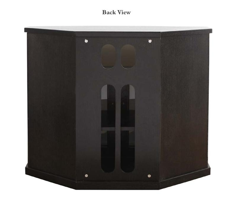 Amazing Popular Black TV Cabinets With Doors Intended For Plateau Newport Series Corner Wood Tv Cabinet With Glass Doors For (Image 4 of 50)