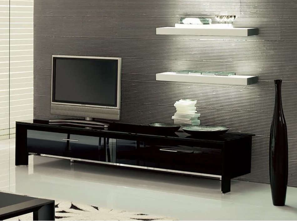 Amazing Popular Black TV Stands With Glass Doors Intended For Miami Tv Stand Tonin Casa Tv Stands Living Room (Image 3 of 50)