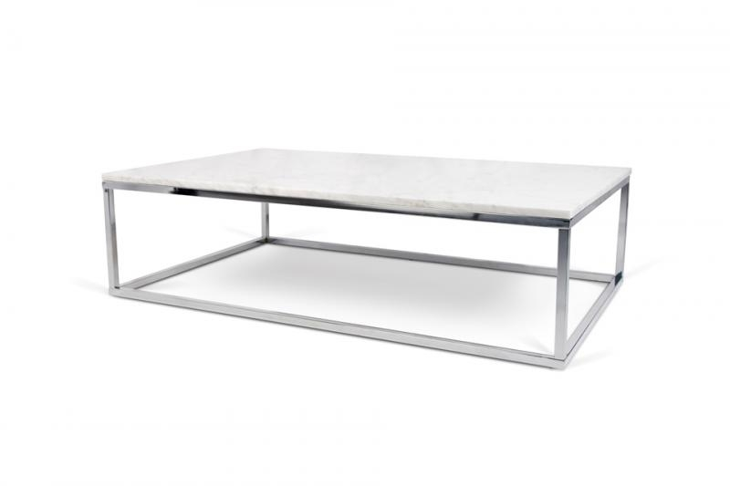 Amazing Popular Coffee Tables With Chrome Legs Intended For Temahome Prairie Coffee Table In White Marble Chrome Or Black Legs (Image 3 of 50)