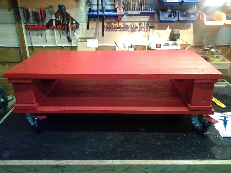 Amazing Popular Red Coffee Table Pertaining To Best 25 Coffee Table With Wheels Ideas On Pinterest Industrial (Image 4 of 50)