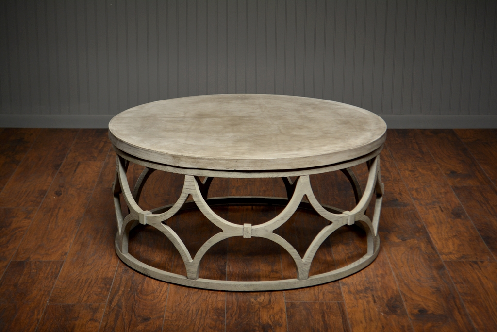 Amazing Popular Round Slate Top Coffee Tables Regarding Outdoor Concrete Round Rowan Coffee Table Mecox Gardens (Image 4 of 40)