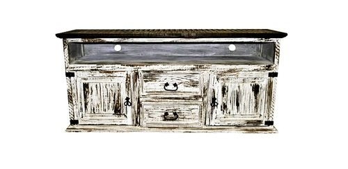 Amazing Popular Rustic White TV Stands Pertaining To Amazon 2 Door 2 Drawer Tv Stand White Scraped Western Rustic (Image 4 of 50)