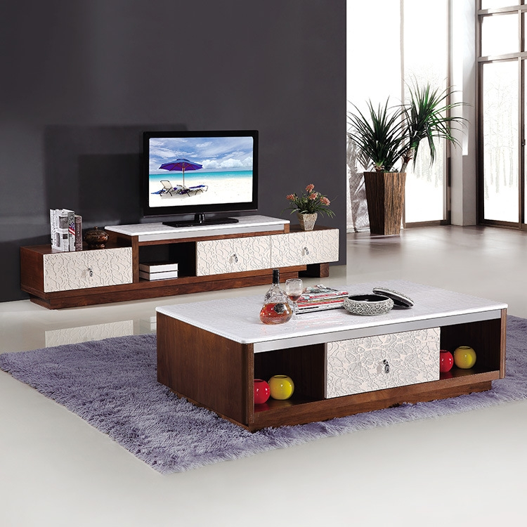 Amazing Popular TV Cabinets And Coffee Table Sets Intended For Simple And Modern Marble Topped Coffee Table Tv Cabinet (Image 1 of 50)