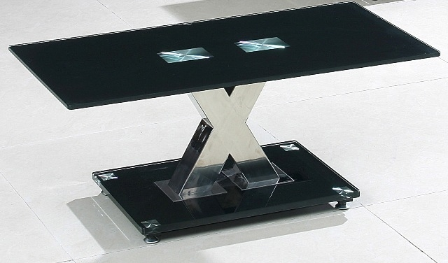Amazing Preferred Black Glass Coffee Tables Regarding Valente Black Glass Coffee Table Hl (Image 4 of 50)