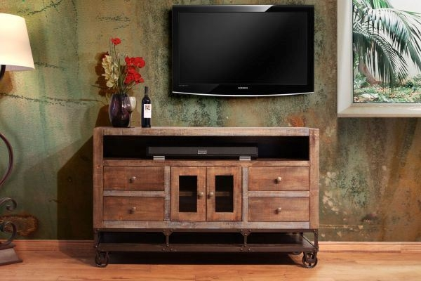 Amazing Preferred Gold TV Stands Within Ifd560stand 76 Urban Gold 76 Inch Tv Stand Artisan Home Afw (Image 4 of 50)