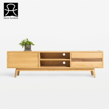 Amazing Preferred Long Wood TV Stands Regarding Hanm Design Oak Long Wood Tv Cabinet With Showcase Modern Tv Stand (Image 2 of 50)