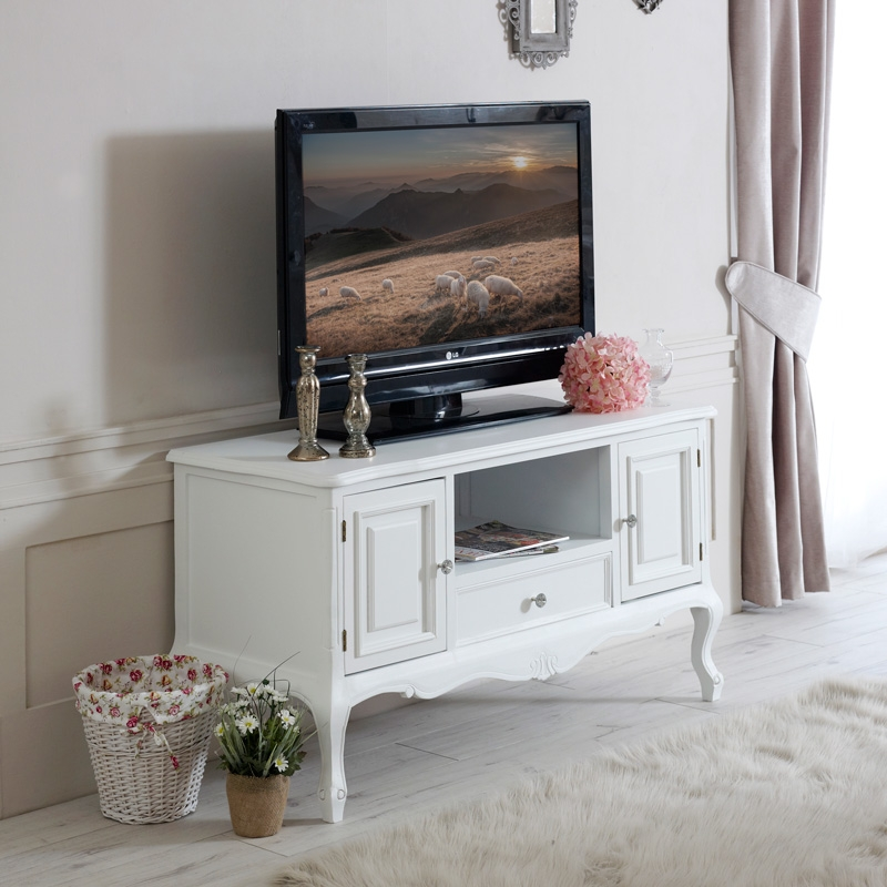 Amazing Preferred Rustic White TV Stands Inside Tv Stands Inspiring White Distressed Tv Stand 2017 Design White (View 35 of 50)