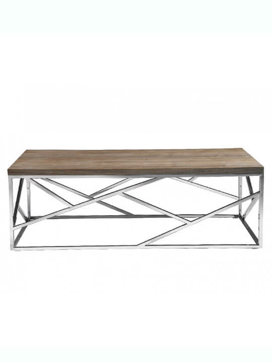 Amazing Premium Chrome And Wood Coffee Tables Intended For Aero Chrome Wood Coffee Table Modern Furniture Brickell Collection (Image 1 of 50)