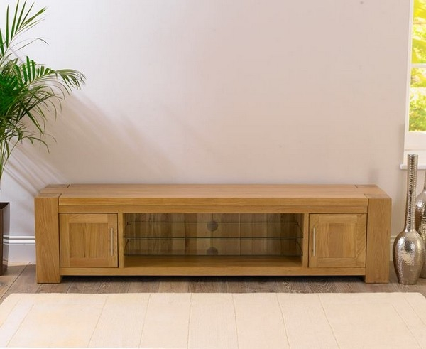 Amazing Premium Large Oak TV Cabinets With Tampa 300cm Oak Dining Table Set Large Oak Chunky Dining Table (Image 2 of 50)