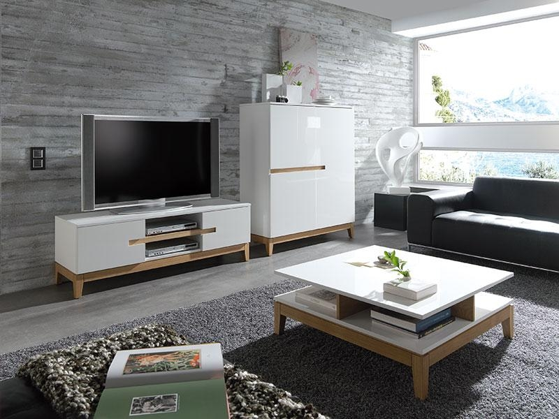 Amazing Premium Matching Tv Unit And Coffee Tables Within Sandrine Contemporary High Gloss White And Oak Coffee Table (Image 3 of 40)
