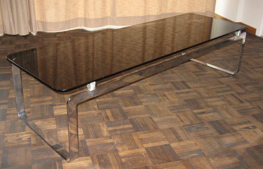 Amazing Premium Retro Smoked Glass Coffee Tables With Regard To Vintage Large Rectangular Smoked Glass Coffee Table For Sale At Pamono (View 35 of 40)