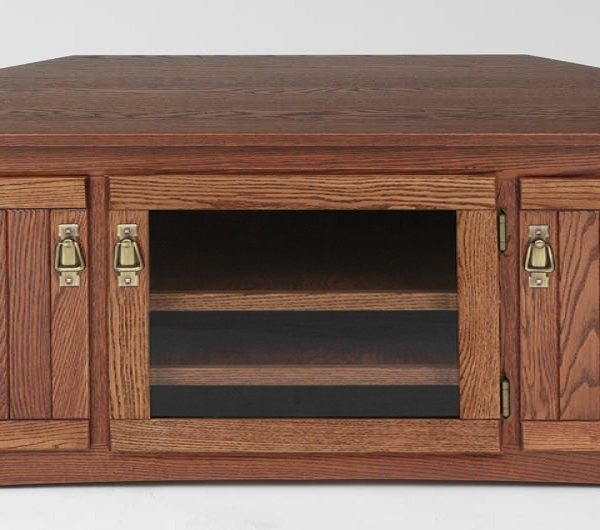 Amazing Premium Solid Oak TV Stands With Regard To Mission Style Solid Oak Corner Tv Stand Wglass Door 64 The (View 32 of 50)