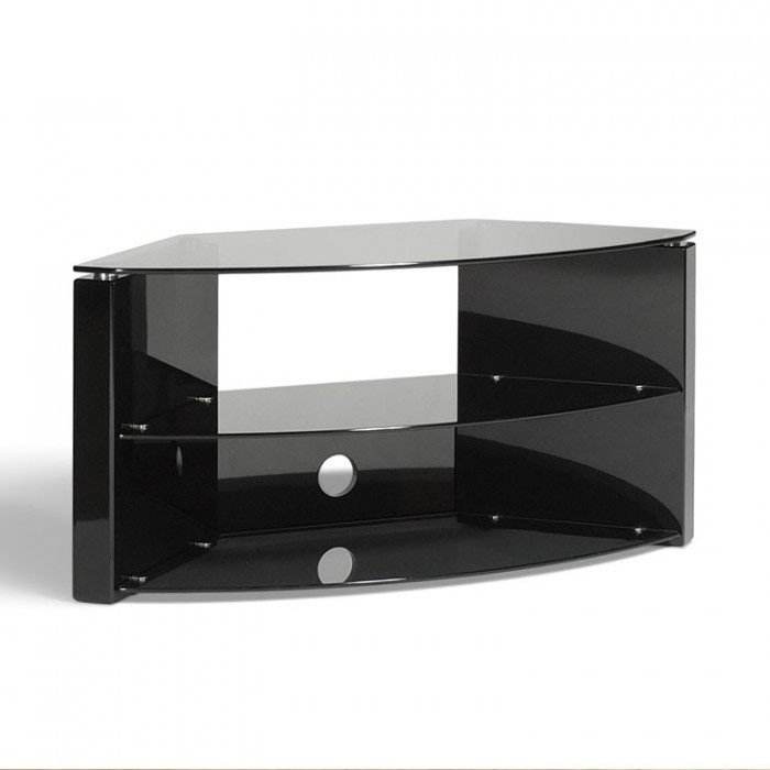 Amazing Premium Techlink TV Stands Regarding Techlink Bench B3b Piano Gloss Black With Smoked Glass Corner Tv (Image 3 of 50)