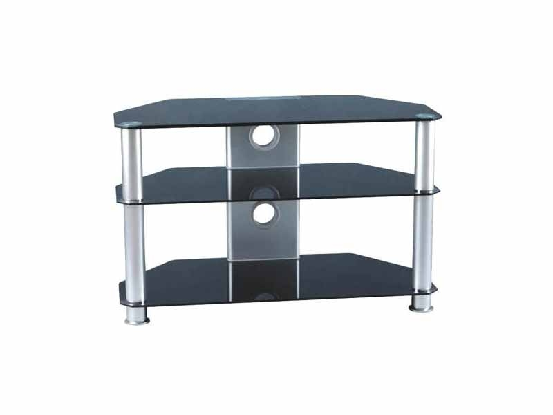 Amazing Premium TV Stands 100cm Pertaining To Glass Tv Stand Three Tier Black Silver 32 37 Slim Design Gt (View 19 of 50)