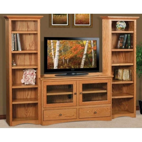 Amazing Premium TV Stands With Bookcases With Flat Wall Tv Stand With Twin Tower Bookcasesamish Handcrafted (Image 3 of 50)