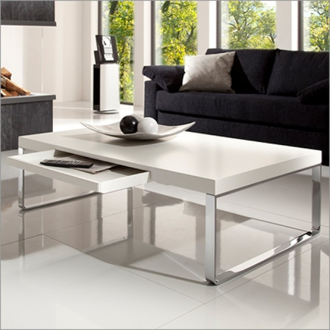 Amazing Premium White And Chrome Coffee Tables Pertaining To Bacher Arizona Coffee Table In 2 Sizes 18 Colour Options Chic (Photo 14 of 50)