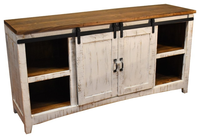 Amazing Premium White Rustic TV Stands Pertaining To Farmhouse Media Storage Houzz (Image 1 of 50)