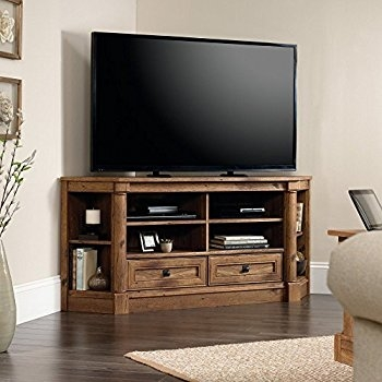 Amazing Series Of Corner Oak TV Stands Within Amazon Sauder 402905 Harbor View Corner Entertainment (Image 4 of 50)