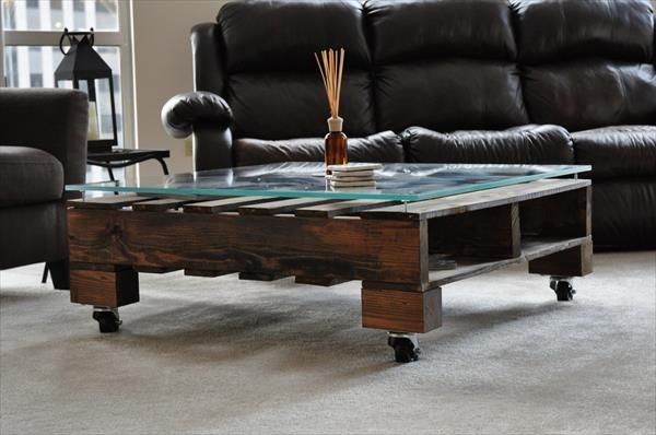 Amazing Series Of Glass Coffee Tables With Casters Pertaining To Coffee Table On Wheels Wheeled Pallet Table Image Of Coffee (Image 4 of 50)