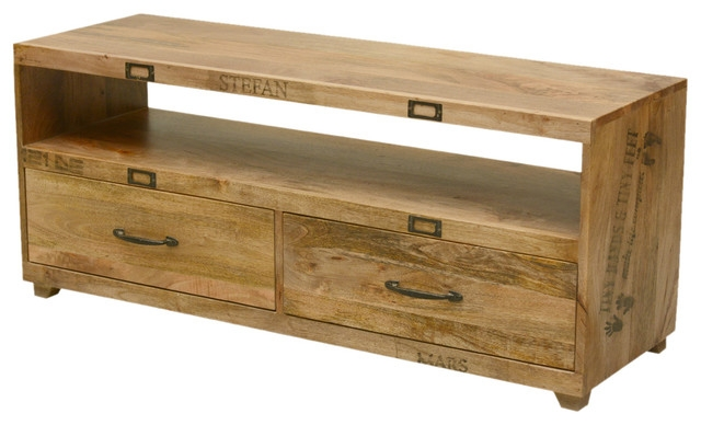 Amazing Series Of Long TV Stands Furniture With Regard To Tiny Hands Mango Wood Handmade Tv Stand With Drawers Rustic (Image 4 of 50)