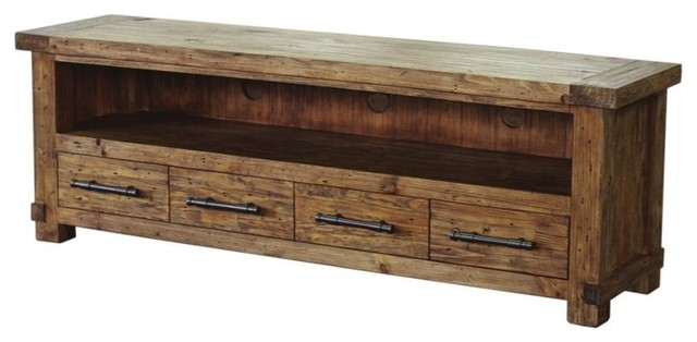 Amazing Series Of Pine TV Stands For Entertainment Unit Pine Wood With Weathered Finish Rustic (Image 3 of 50)