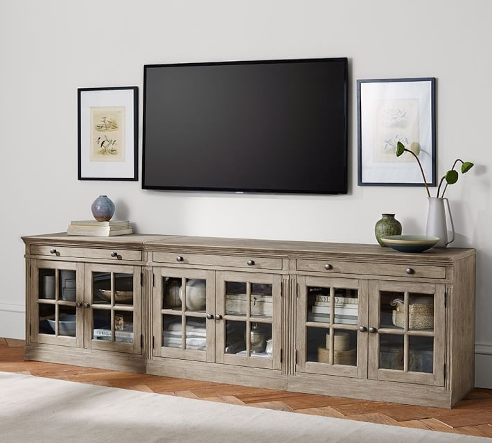 Amazing Series Of Rectangular TV Stands Throughout Livingston Large Tv Stand Gray Pottery Barn (Image 4 of 50)