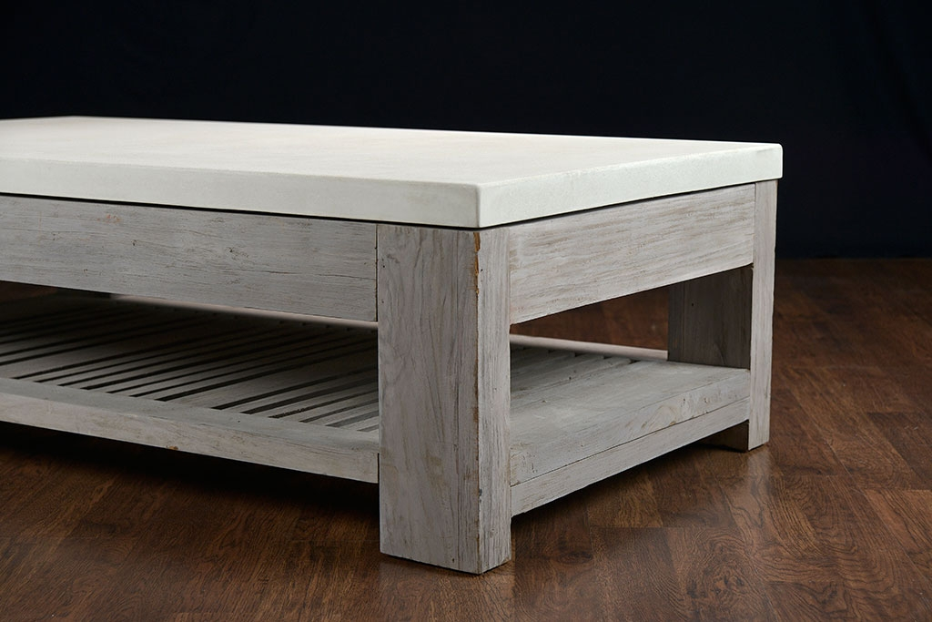 Amazing Series Of Rustic Coffee Tables With Bottom Shelf With Regard To Slatted Teak And Concrete Outdoor Coffee Table Mecox Gardens (Image 6 of 50)