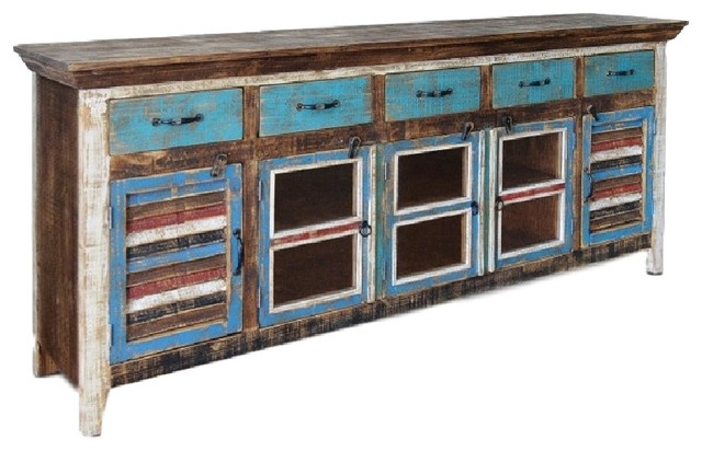 Amazing Series Of Wooden TV Cabinets With Glass Doors Pertaining To Reclaimed Solid Wood Curio Cabinet With Glass Door And Shutter (Image 7 of 50)