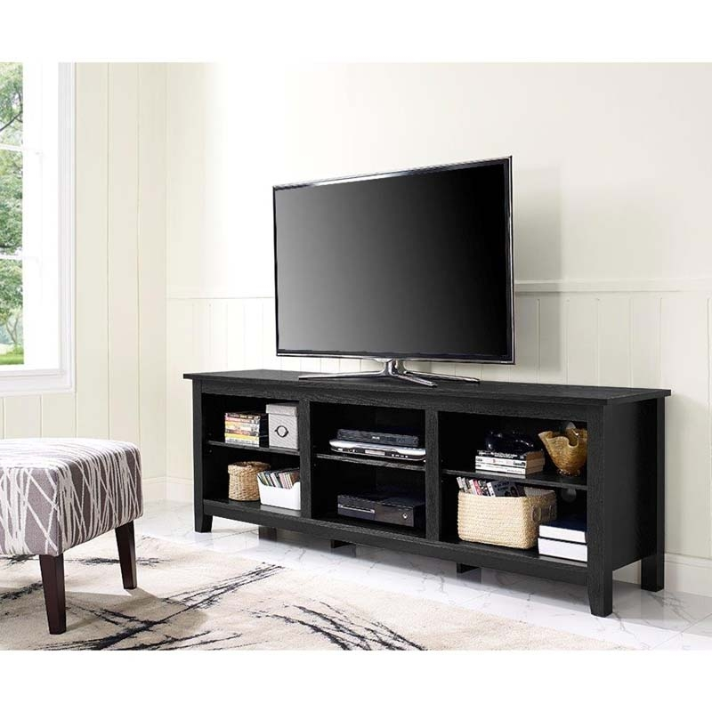 Amazing Top 24 Inch Wide TV Stands Within Walker Edison Essentials 70 Inch Tv Stand Black W70cspbl (Image 3 of 50)
