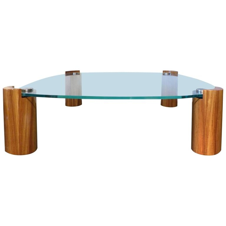 Amazing Top Chrome And Wood Coffee Tables Within Mid Century Modern Karl Springer Zebra Wood Coffee Table With (Image 2 of 50)