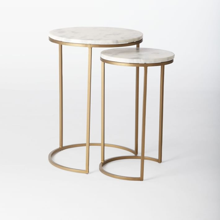 Amazing Top Coffee Tables With Nesting Stools Within Round Nesting Side Tables Set Marbleantique Brass West Elm (View 44 of 50)