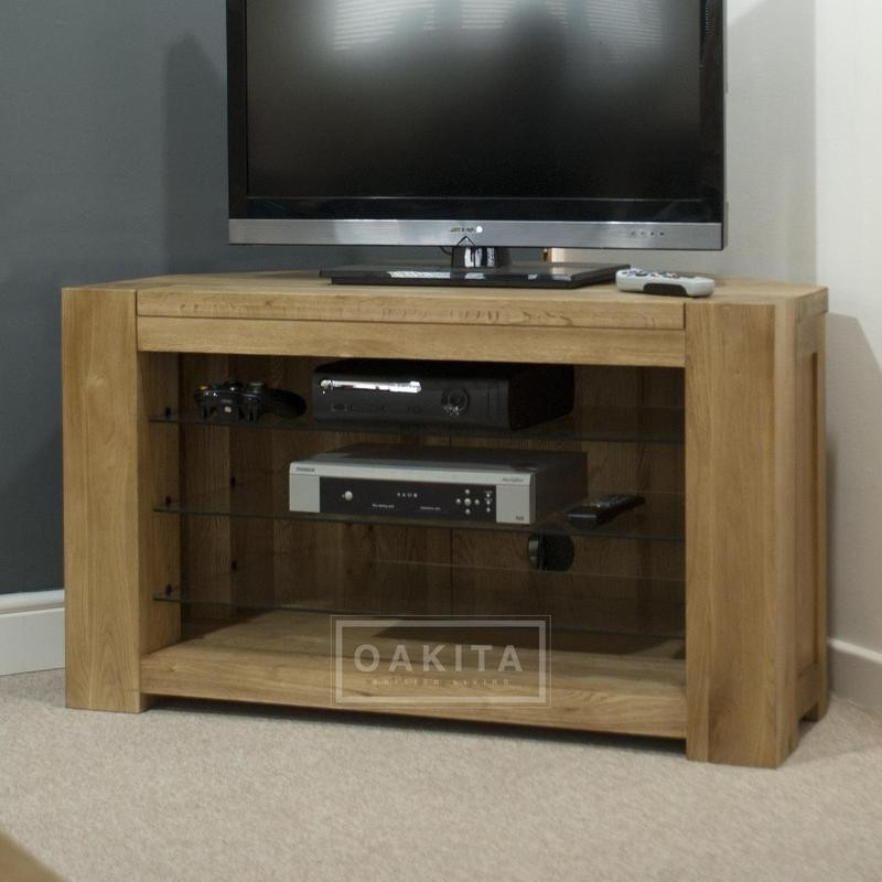 Amazing Top Corner Oak TV Stands Inside Wooden Corner Tv Cabinets Uk St Ives Oak Corner Tv Stand Stives (Image 5 of 50)