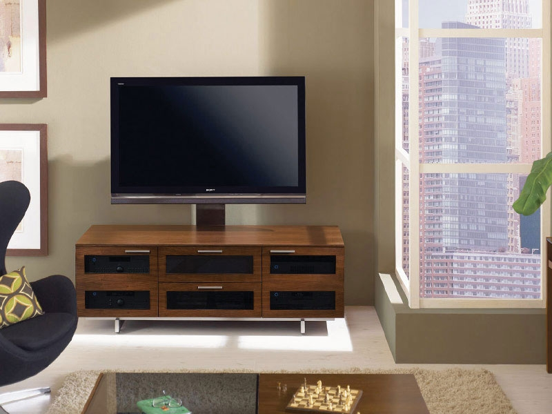 Amazing Top Dark Walnut TV Stands Inside Oak Tv Stand With Glass Doors Un Varnish Teak Wood Media Cabinet (Image 4 of 50)
