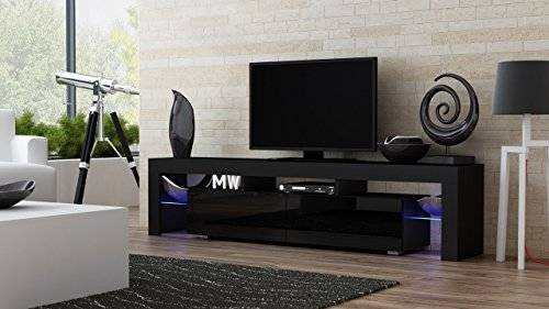 Amazing Top Led TV Cabinets Pertaining To Amazon Tv Stand Milano 200 Black Body Modern Led Tv Cabinet (Image 4 of 50)