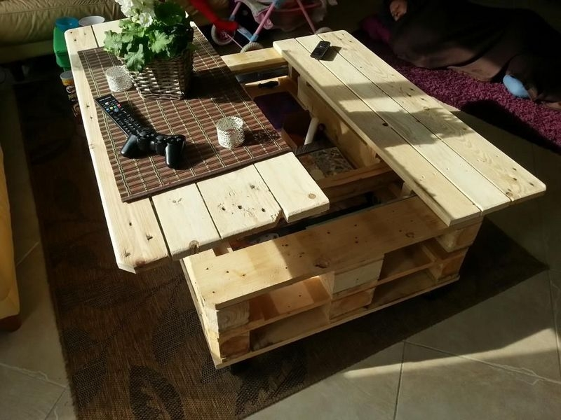 Amazing Top Lift Coffee Tables With Regard To Make A Lift Top Coffee Table Out Of Pallets (Image 2 of 50)