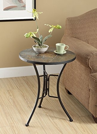 Amazing Top Round Slate Top Coffee Tables In Amazon 4d Concepts Slate Round Top Coffee Table Metal Slate (Image 6 of 40)