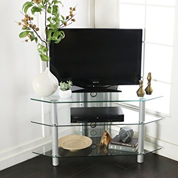 Amazing Top Silver Corner TV Stands Throughout Amazon Walker Edison 44 Glass Corner Tv Stand Silver (Image 6 of 50)