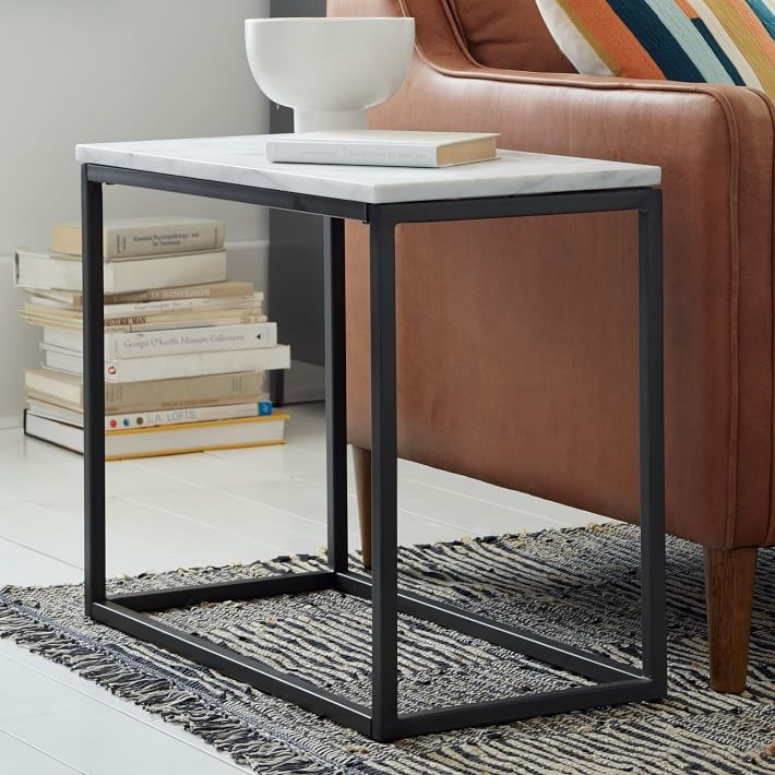Amazing Top Thin Coffee Tables Throughout Box Frame Narrow Side Table Marbleantique Bronze West Elm (View 20 of 50)