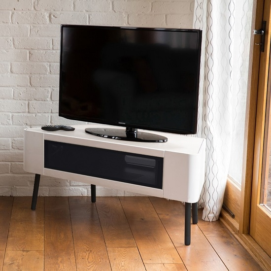 Amazing Top White Gloss Corner TV Stands For Norvik Tv Stand In White High Gloss With Glass Door  (Image 1 of 50)