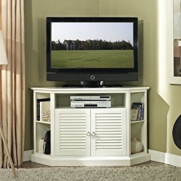 Amazing Top White Wood Corner TV Stands Throughout Amazon We Furniture 52 Wood Corner Tv Stand Console White (Image 3 of 50)