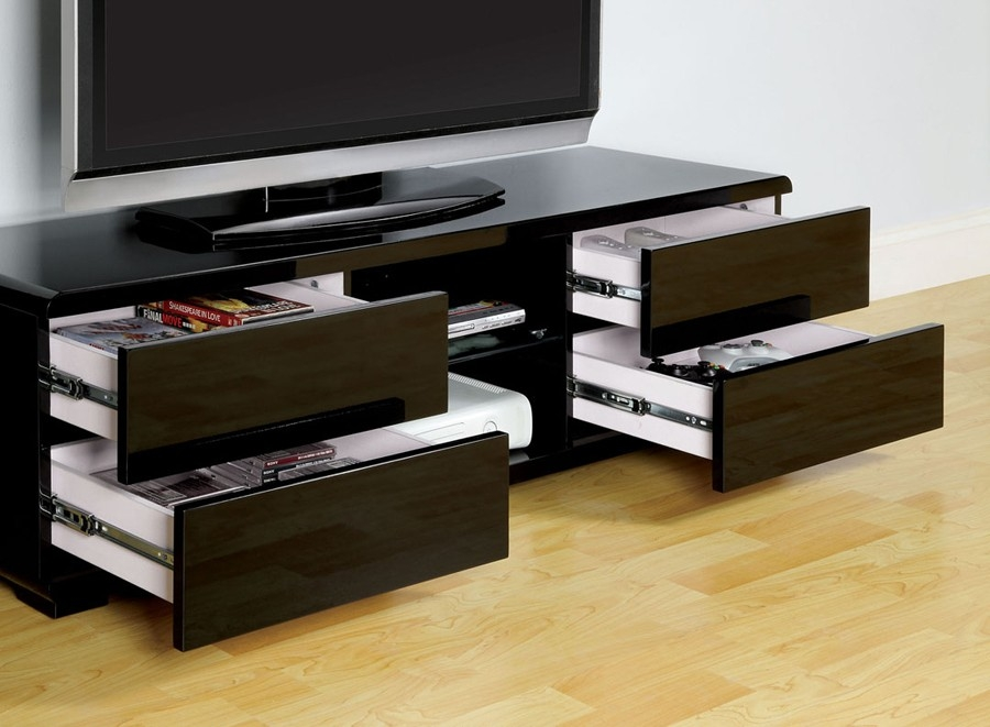 Amazing Trendy Black TV Stands With Drawers For Cerro Black Lacquer Finish Tv Stand (Image 3 of 50)