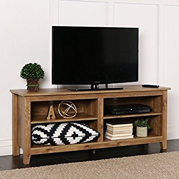 Amazing Trendy Corner TV Stands For 50 Inch TV Regarding Amazon We Furniture 58 Wood Tv Stand Storage Console (Image 5 of 50)